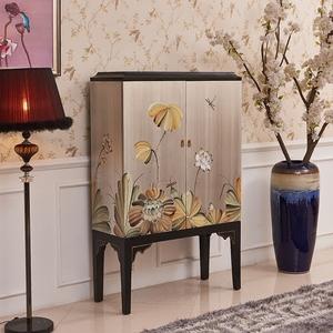 新中式银箔彩绘荷花实木装饰高柜酒柜电视机旁高柜储物柜玄关立柜