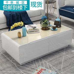 若蝶 黑白色烤漆客厅小户型茶桌 现代简约<span class=H>茶几</span>钢化玻璃电视柜组合
