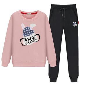 初中学生女大童春装洋气时髦套装女孩卫衣两件套青少年休闲运动服