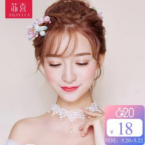 苏喜新款韩式白色蕾丝颈带choker项圈项链颈圈女短款锁骨<span class=H>颈链</span>饰品