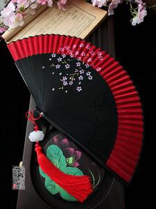 中国风真丝女扇子樱花日式和风古风折扇手工艺折叠<span class=H>丝绸</span>小<span class=H>绢扇</span>夏女