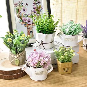 仿真植物装饰北欧绿植室内盆栽客厅摆件假花卉多肉小盆景<span class=H>家居</span>摆设