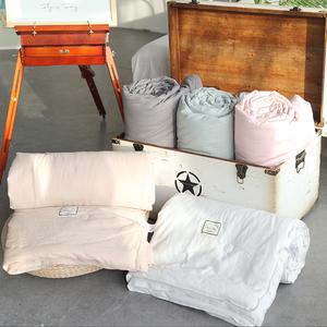 北欧风简约水洗棉纯色全棉夏凉被空调被春秋被芯纯棉可水洗薄被子