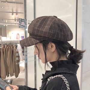 网红格子贝雷帽女士秋冬韩版日系百搭软妹蓓蕾帽复古英伦八角帽子