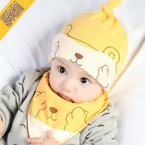 新生儿<span class=H>帽子</span>春秋天纯棉婴儿<span class=H>帽子</span>0-3-6-12个月男女童宝宝胎帽套头帽