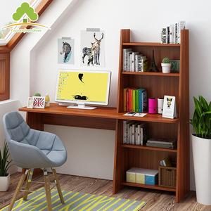 简约现代电脑台式桌家用卧室桌子多功能书柜学习写字书桌书架组合