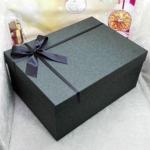 纯黑色特大超大号长方形礼服婚纱礼品盒<span class=H>西装</span>高跟鞋包装礼物盒定制