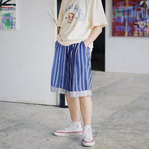 PROS BY CH 斜门襟卷边五分裤日系复古直筒名族风蓝色竖条纹<span class=H>短裤</span>