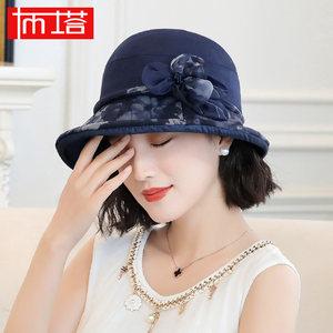 布塔帽子女夏韩版潮遮阳帽清新碎花真丝太阳帽可折叠渔夫帽