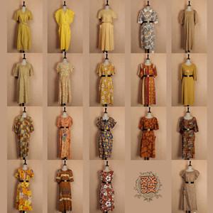 夏季vintage古着孤品日本森女文艺碎花舒适棉质短袖连衣裙17-37