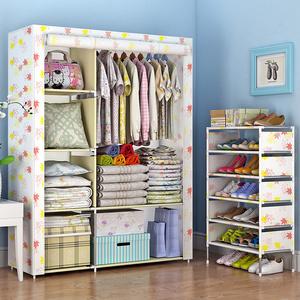 <span class=H>衣柜</span>简易布<span class=H>衣柜</span>钢管加粗加固布艺简约现代寝室经济型双人折叠组装
