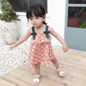 2019夏季新款连衣裙1-3岁女宝背带连衣裙纯棉女童花朵印花吊带裙