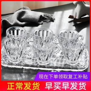 玻璃杯水杯家用套装加厚耐热泡花茶杯水晶透明咖啡杯创意带把杯子