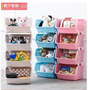 墙挂式毛绒玩具收纳架储蓄箱塑料篮置物盒四层储物箱两层带<span class=H>书架</span>。
