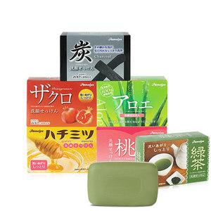 【水果植物皂6块】日本进口<span class=H>香皂</span>沐浴皂洁面皂滋润皂80g*6块组合