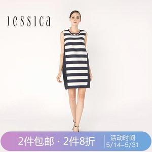 杰西卡JESSICA新 条纹花苞裙 钉珠<span class=H>口袋</span><span class=H>连衣裙</span>熟女欧美职业风