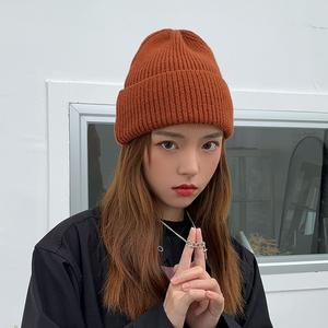 韩版秋冬毛线帽子女纯色百搭加厚简约针织帽冬天ins保暖日系冷帽