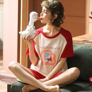 南极人 夏季睡衣女纯棉短袖 韩版家居服可爱卡通短裤休闲薄款套装