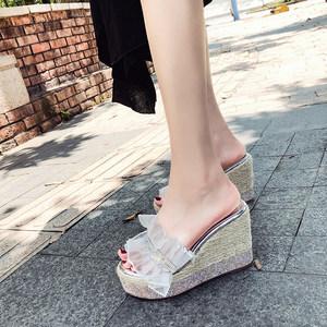 坡跟厚底<span class=H>凉拖鞋</span>2019夏季新款水钻百搭时尚高跟拖鞋性感外穿女拖鞋