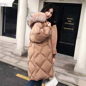 2018年新款韩版冬装宽松收腰显瘦中长款真大毛领加厚羽绒服女90绒
