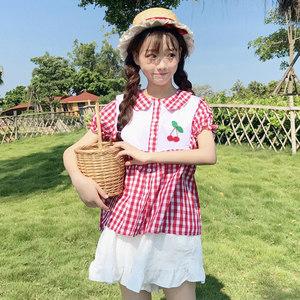 夏装女装韩版小清新可爱樱桃装饰娃娃领衬衫上衣+纯色短裤套装潮