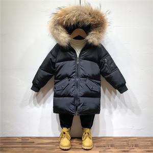 男童棉衣2017新款冬装儿童加厚外套中长款羽绒棉服<span class=H>宝宝</span>真毛领棉袄