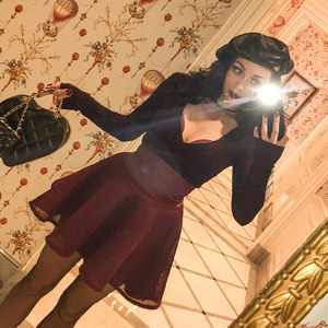 LE PALAIS VINTAGE复古万能搭酒红点点超高腰显腿长蓬蓬短裙