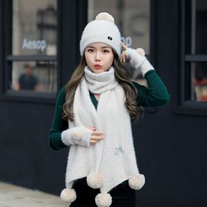 毛线帽冬季新款<span class=H>帽子</span><span class=H>围巾</span>手套三件套一体女冬韩版潮百搭可爱针织帽