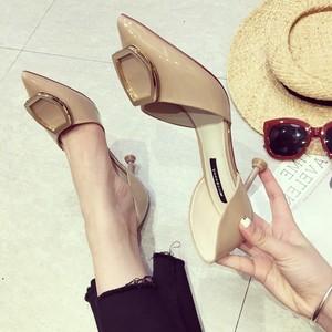 2018新款夏季中空包头<span class=H>凉鞋</span>少女细跟高跟鞋尖头时尚小清新公主单鞋