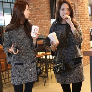 ytr秋冬韩版新款两件套连衣裙 <span class=H>时尚</span>毛呢套装 上衣+半身裙子两件套