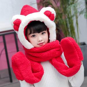 韩版冬可爱儿童卡通宝宝帽子围巾<span class=H>手套</span>三件一体套装男童女童保暖帽