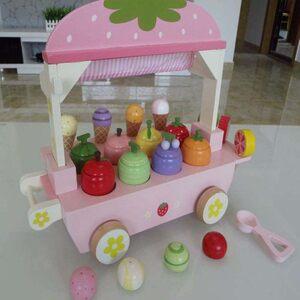 男女孩木制仿真冰淇淋甜筒雪糕屋冰激凌车儿童过家家<span class=H>玩具</span>生日礼物