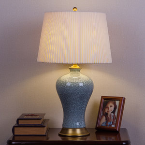 新中式美式复古全铜陶瓷台灯卧室床头客厅别墅会所酒店装饰裂纹釉