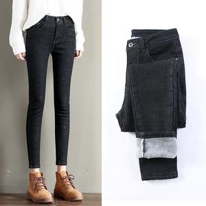 2018冬季新款高腰加绒加厚九分牛仔裤女韩版显瘦外穿保暖小脚长裤