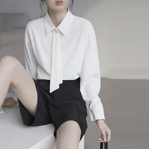 衬衫女2019新款春夏韩版休闲长袖宽松雪纺<span class=H>领带</span>设计感小众白色衬衣
