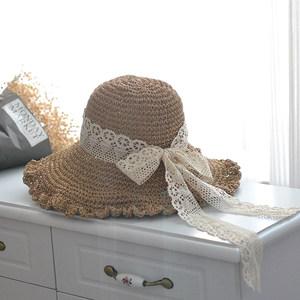 褶皱边蕾丝飘带蝴蝶结渔夫草帽子女士优雅钩针大檐海边度假遮阳帽