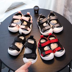 宝宝学步鞋夏季软底棉布防滑防落凉鞋包头包趾安全鞋1-3岁宝宝鞋
