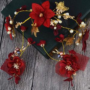 韩式新娘<span class=H>头饰</span>发箍皇冠红色水晶花朵饰品结婚<span class=H>婚纱</span>礼服配饰头花包邮