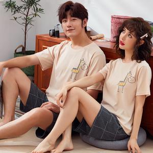 领30元券购买情侣睡衣夏季纯棉薄款短袖短裤家居服女韩版可爱男士夏天两件套装