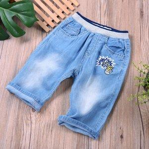 儿童纯棉天丝软牛仔中裤超薄款印花<span class=H>短裤</span>中小男童夏季水洗五分裤潮