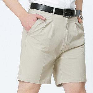 夏季爸爸西装短裤中年人男士宽松外穿<span class=H>五分裤</span>40岁50中老年纯棉休闲