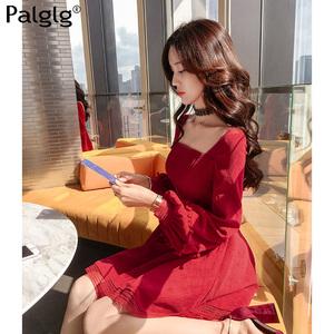 2019春季新款韩版甜美公主女装裙子灯芯绒收腰性感红色长袖连衣裙