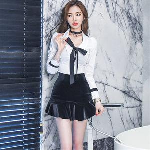 2017秋装新款时尚夜店女装修身显瘦两件套名媛气质套装性感<span class=H>连衣裙</span>