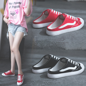 无后跟<span class=H>帆布鞋</span>女半拖鞋板鞋网红布鞋2019新款运动鞋拖鞋懒人小白鞋