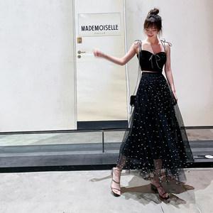 ALUONLINESHOP 彩色钉珠黑色网纱半身裙女夏高腰仙女裙a字中<span class=H>长裙</span>