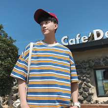 Striped short-sleeved t-shirt, Chaozhou men's ins clothes, half-sleeved men's Korean version t-shirt, men's summer harbor breeze five-sleeved clothes