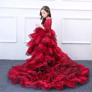 儿童公主裙夏女童<span class=H>晚礼服</span>丽兰朵大红色奢华刺绣五分袖拖地长裙婚纱