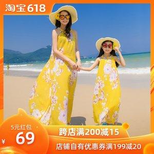 波西米亚母女装海边度假沙滩裙宽松显瘦大码亲子装连衣裙雪纺长裙