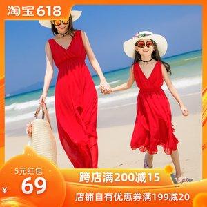 海边度假母女装显瘦沙滩裙v领波西米亚长裙亲子装出游连衣裙红色