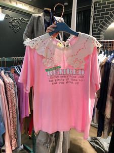 韩国东大门2019夏季款甜美蕾丝娃娃领字母印花短袖<span class=H>T恤</span>女气质上衣